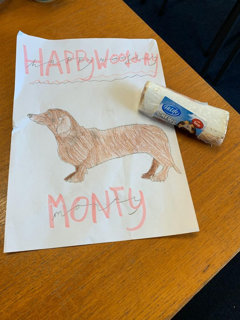 My card and bone from Miss Poppe